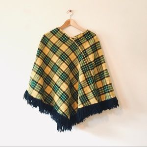 Vintage 60s Plaid Cape Sweater Fringe Yellow Green